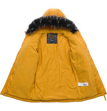 Endo - Długa kurtka parka zimowa z kapturem, musztardowa, 9-13 lat C04A005_2,4