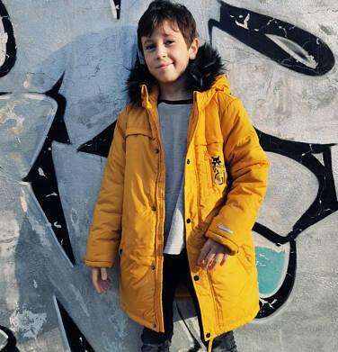 Endo - Długa kurtka parka zimowa z kapturem, musztardowa, 9-13 lat C04A005_2,3