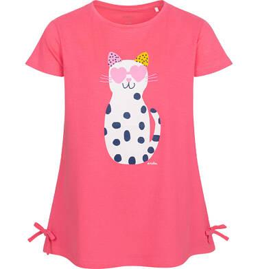 Tunika z krótkim rękawem i kokardkami dla dziewczynki, z kotem w cętki, różowa, 9-13 lat D05T003_1