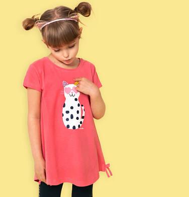 Endo - Tunika z krótkim rękawem i kokardkami dla dziewczynki, z kotem w cętki, różowa, 9-13 lat D05T003_1,2