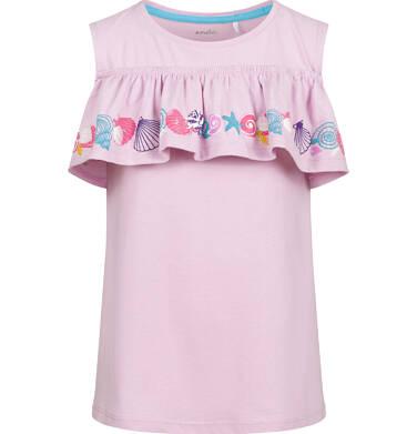 Endo - Bluzka z krótkim rękawem dla dziewczynki, z morskim motywem i odsłoniętymi ramionami, różowa, 2-8 lat D03G150_1 11