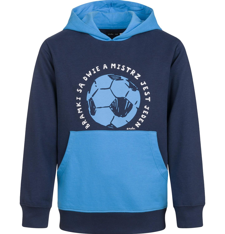 Endo - Bluza z kapturem dla chłopca, z piłką, granatowa, 9-13 lat C03C531_1