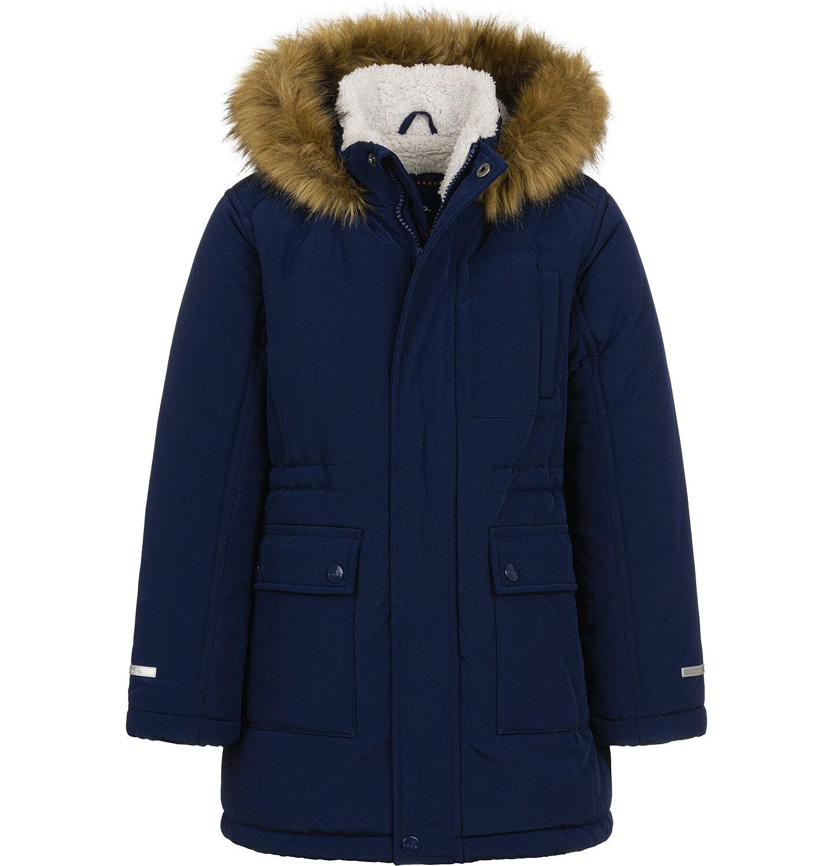 Endo - Długa kurtka parka zimowa z kapturem, ciemnogranatowa, 2-8 lat C04A012_1