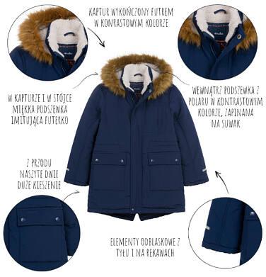 Endo - Długa kurtka parka zimowa z kapturem, ciemnogranatowa, 2-8 lat C04A012_1,5