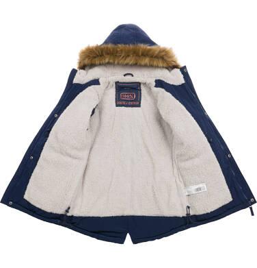Endo - Długa kurtka parka zimowa z kapturem, ciemnogranatowa, 2-8 lat C04A012_1 8