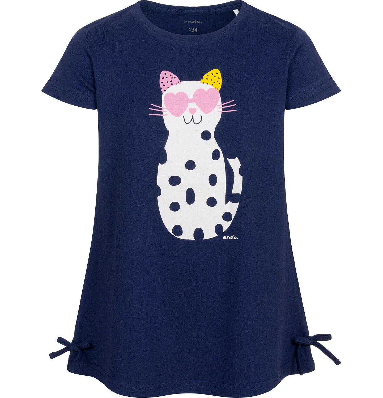 Endo - Tunika z krótkim rękawem i kokardkami dla dziewczynki, z kotem w cętki, granatowa, 9-13 lat D05T003_2