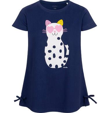 Endo - Tunika z krótkim rękawem i kokardkami dla dziewczynki, z kotem w cętki, granatowa, 9-13 lat D05T003_2 3