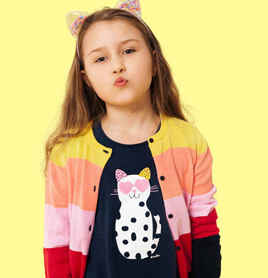 Endo - Tunika z krótkim rękawem i kokardkami dla dziewczynki, z kotem w cętki, granatowa, 9-13 lat D05T003_2 7