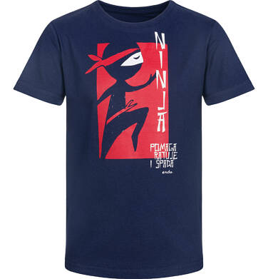 Endo - T-shirt z krótkim rękawem dla chłopca, na ratunek ninja, ciemnogranatowy, 9-13 lat C03G533_1
