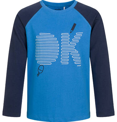 Endo - T-shirt z długim rękawem dla chłopca, kontrastowe rękawy, granatowy, 5-8 lat C03G198_1 23