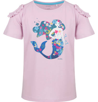 Endo - Bluzka z krótkim rękawem dla dziewczynki, z syrenką, różowa, 2-8 lat D03G151_1