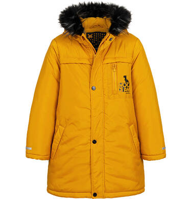 Długa kurtka parka zimowa z kapturem, musztardowa, 2-8 lat C04A017_2