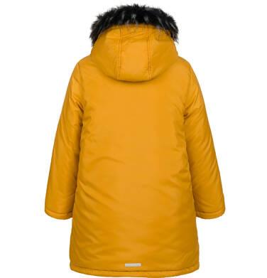 Endo - Długa kurtka parka zimowa z kapturem, musztardowa, 2-8 lat C04A017_2,3