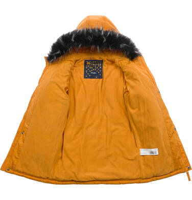 Endo - Długa kurtka parka zimowa z kapturem, musztardowa, 2-8 lat C04A017_2,5