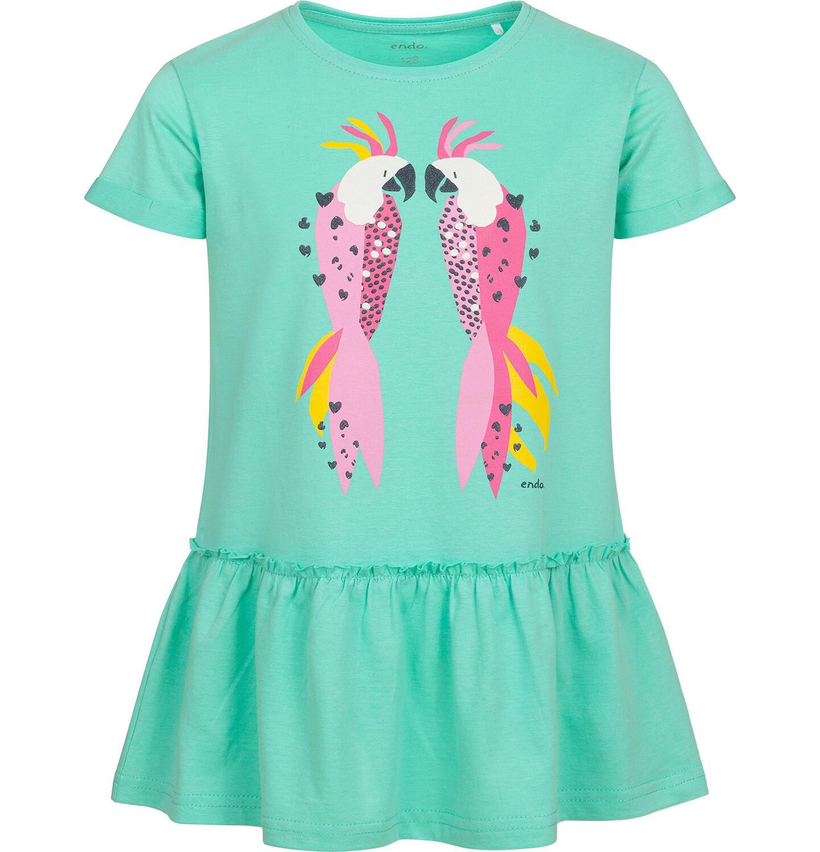 Endo - Tunika z krótkim rękawem dla dziewczynki, z papugami, zielona, 9-13 lat D05T007_1
