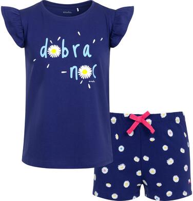 Endo - Piżama z krótkim rękawem dla dziewczynki, z napisem dobra noc, spodenki w stokrotki, granatowa, 9-13  lat D05V010_1 10