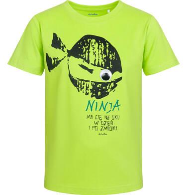 Endo - T-shirt z krótkim rękawem dla chłopca, ninja ma Cię na oku, limonkowy, 9-13 lat C03G534_1