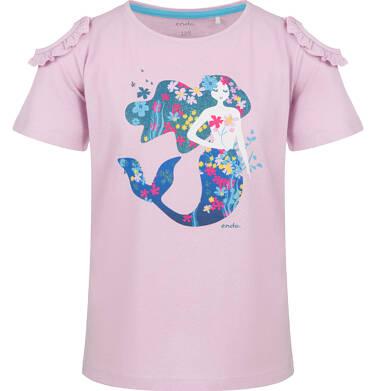 Endo - Bluzka z krótkim rękawem dla dziewczynki, z syrenką, różowa, 9-13 lat D03G651_1 234