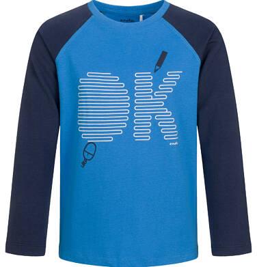 Endo - T-shirt z długim rękawem dla chłopca, kontrastowe rękawy, granatowy, 9-13 lat C03G698_1 18