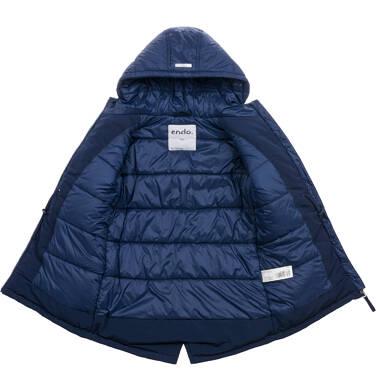 Endo - Długa kurtka zimowa z kapturem, granatowa, 9-13 lat D04A008_1,4