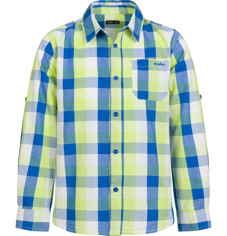 Endo - Koszula z długim rękawem dla chłopca, z kołnierzykiem, w kolorową kratę, 2-8 lat C03F005_1