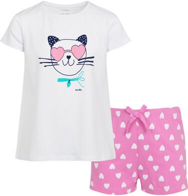 Endo - Piżama z krótkim rękawem dla dzieczynki, z kotem w okularach - sercach, biała, 9-13 lat D05V011_1 46