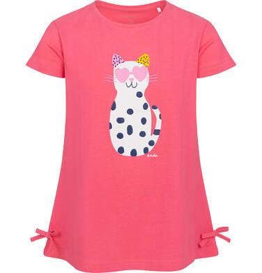 Tunika z krótkim rękawem i kokardkami dla dziewczynki, z kotem w cętki, różowa, 2-8 lat D05T010_1