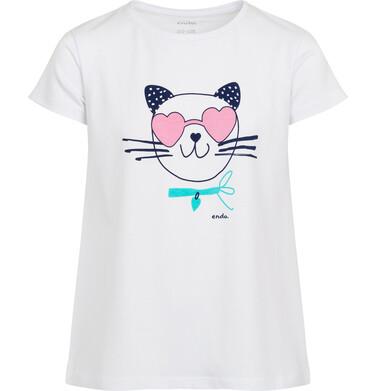 Endo - Piżama z krótkim rękawem dla dzieczynki, z kotem w okularach - sercach, biała, 2-8 lat D05V013_1 1