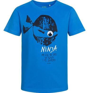T-shirt z krótkim rękawem dla chłopca, ninja ma Cię na oku, niebieski, 9-13 lat C03G534_2