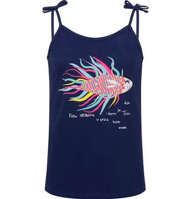Endo - Bluzka na ramiączkach dla dziewczynki, z rybą, granatowa, 9-13 lat D03G652_1 16