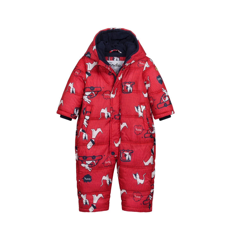 Endo - Kombinezon zimowy dla małego dziecka, w zwierzątka, czerwony N04A004_1