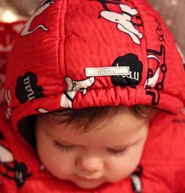 Endo - Kombinezon zimowy dla małego dziecka, w zwierzątka, czerwony N04A004_1,5