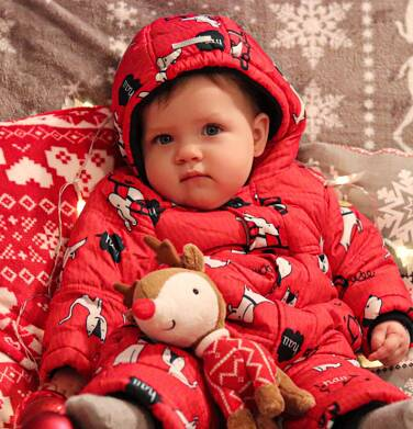 Endo - Kombinezon zimowy dla małego dziecka, w zwierzątka, czerwony N04A004_1,3
