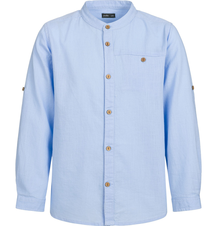 Endo - Koszula z długim rękawem dla chłopca, ze stójką, niebieska, 2-8 lat C03F008_1