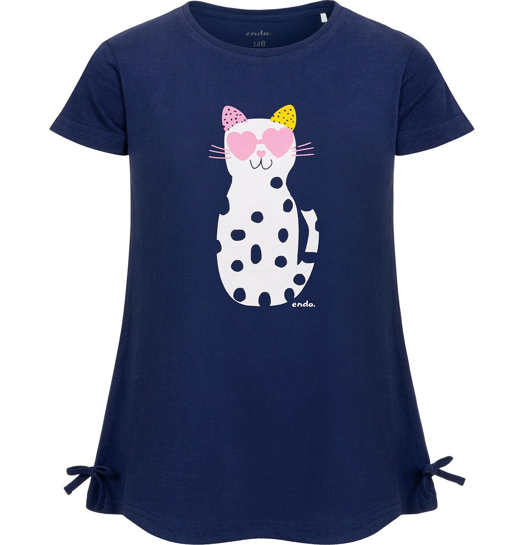 Endo - Tunika z krótkim rękawem i kokardkami dla dziewczynki, z kotem w cętki, granatowa, 2-8 lat D05T010_2