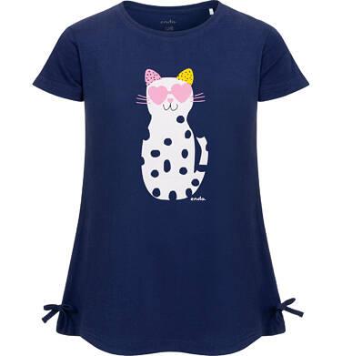 Endo - Tunika z krótkim rękawem i kokardkami dla dziewczynki, z kotem w cętki, granatowa, 2-8 lat D05T010_2 3