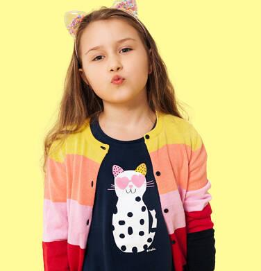 Endo - Tunika z krótkim rękawem i kokardkami dla dziewczynki, z kotem w cętki, granatowa, 2-8 lat D05T010_2 6