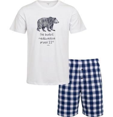 Endo - Piżama męska z krótkim rękawem, z niedźwiedziem, napisem nie budzić niedźwiedzia przed 11, biała Q05V001_1 2