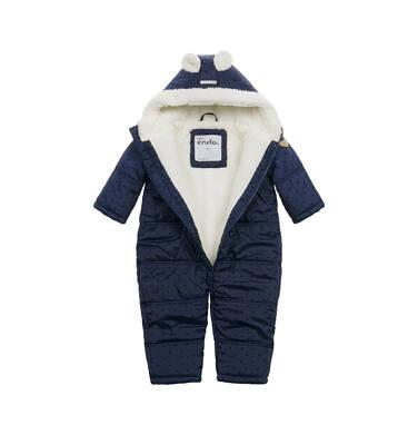 Endo - Kombinezon zimowy dla małego dziecka, z uszkami, granatowy N04A008_1,2