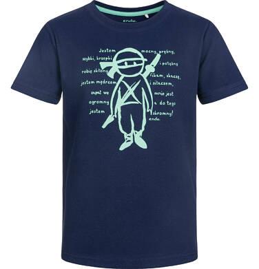 T-shirt z krótkim rękawem dla chłopca, ninja, ciemnogranatowy, 9-13 lat C03G535_1