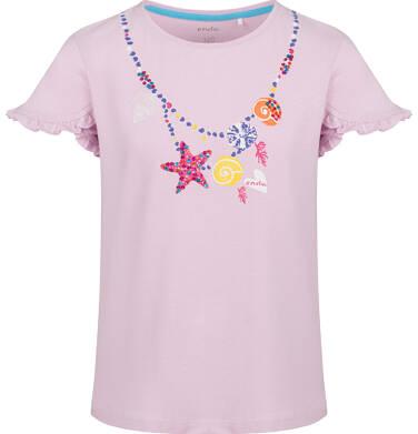 Endo - Bluzka z krótkim rękawem dla dziewczynki, morski motyw i falbanki na rękawach, różowa, 9-13 lat D03G654_1 119