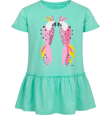Endo - Tunika z krótkim rękawem dla dziewczynki, z papugami, zielona, 2-8 lat D05T014_1 1