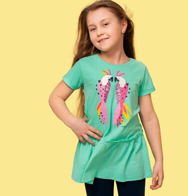 Endo - Tunika z krótkim rękawem dla dziewczynki, z papugami, zielona, 2-8 lat D05T014_1 5