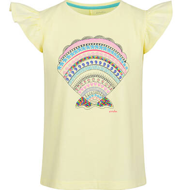 Endo - Bluzka z krótkim rękawem dla dziewczynki, z kokardą na plecach, żółta, 2-8 lat D03G155_2