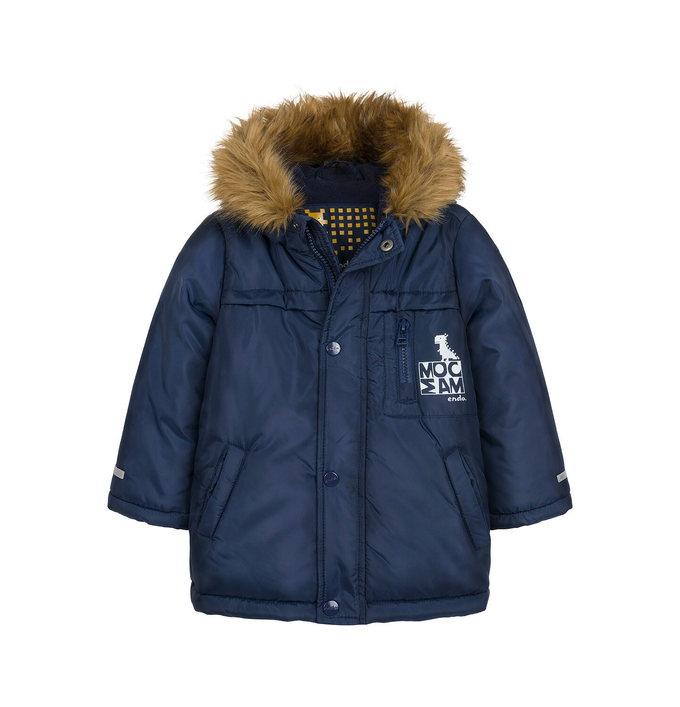 Endo - Długa kurtka parka zimowa dla małego dziecka, granatowa N04A022_1