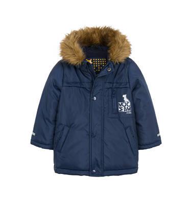 Długa kurtka parka zimowa dla małego dziecka, granatowa N04A022_1
