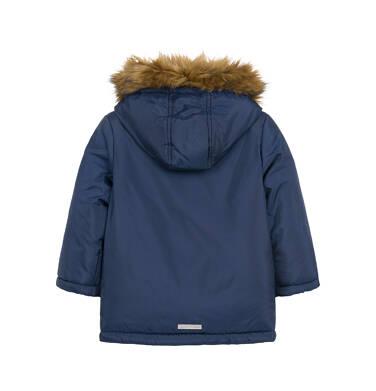 Endo - Długa kurtka parka zimowa dla małego dziecka, granatowa N04A022_1,2