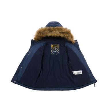 Endo - Długa kurtka parka zimowa dla małego dziecka, granatowa N04A022_1 7