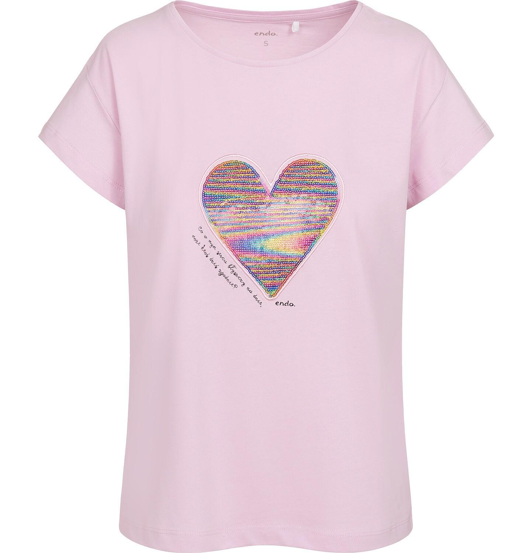 Endo - T-shirt damski z sercem z cekinów, różowy Y05G001_1