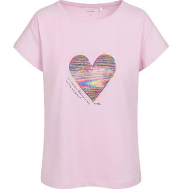Endo - T-shirt damski z sercem z cekinów, różowy Y05G001_1 5